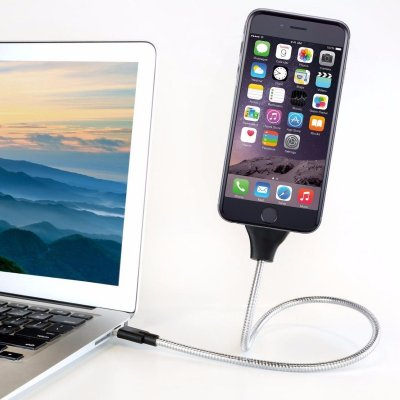 USB-kabel i böjbar metall 60cm (Apple/MicroUSB/USB-C)